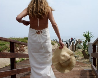 Backless Maxi Dress, Summer Maxi Dress, Halter Maxi dress, White Maxi Dress, Embroidered Maxi Dress, Fringed Maxi Dress, Cotton Maxi Dress
