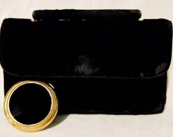 Velvet Lin Bren Handbag with Matching Velvet Compact