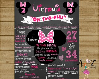 Minnie Mouse Birthday Chalkboard, Minnie Mouse 1st Birthday Chalkboard, Minnie Mouse Sign, Minnie Mouse Birthday Poster, Printable, Custom