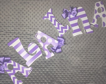 Zig zag, stripe, and polka dot wooden letters