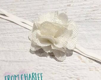 Ivory Burlap Flower Headband - Handmade