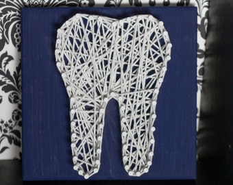Dental, String Art, Tooth, Dental Art, Molar, Navy