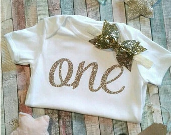 First birthday gold glitter bodysuit baby grow set with gold glitter headband set