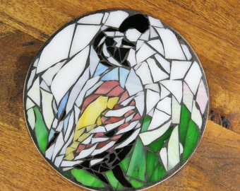 Handmade Quail Mosaic Glass Trivet, Mother's Day Gift