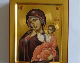Byzantine icon, gold leaf, Madonna and child