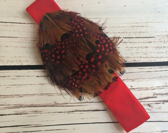 Feather toddler infant red headband