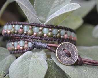 SOLD - Unakite and Aventurine Double Wrap Bracelet