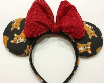 Black Corgi Mouse Ears with Puffy Sequin Bow, Minnie Mouse Ears