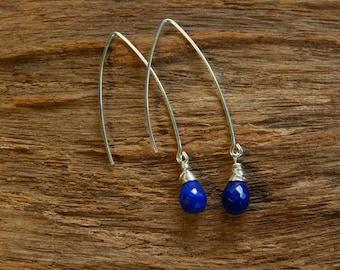 Sterling Silver Earings/Lapis Lazuli Earings/Boho Earings/Bohemian Earings/Hippie Earings/925 Sterling Silver Earings/Lazúli Sterling Silver