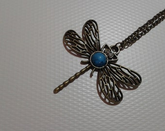 Dragonfly pendant necklace, Turquoise dragonfly, Turquoise stone, Antique gold bronze dragonfly necklace, Long dragonfly necklace