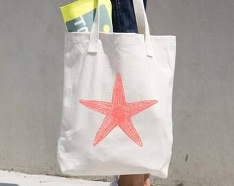 Sea Star Tote Bag - Starfish Tote Bag - Farmer's Market Bag - Market Tote -Reusable Bag -Reusable Shopping Bag -Grocery Bag -Bull Denim Tote