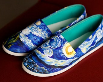 ADULT Starry Night hand-painted shoes