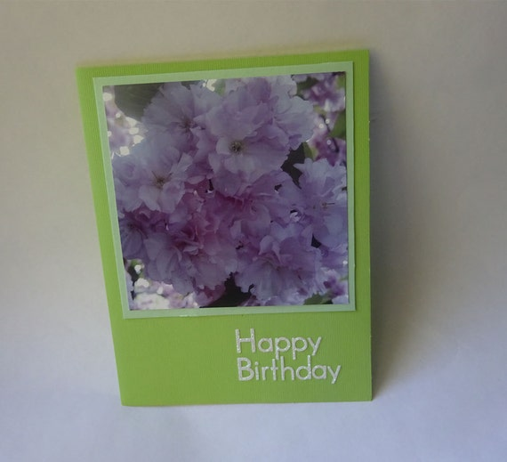 Birthday Card with Cherry Blossoms Flowers - #102 - 10