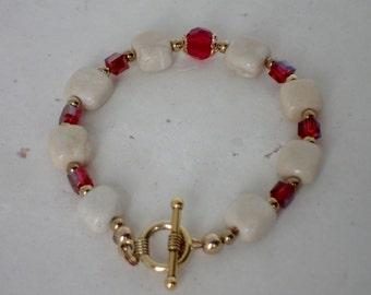 Cream Marble and Swarovski Red Crystal Beaded Bracelet
