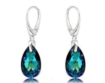 Earrings Swarovski Elements sterling silver swarovski crystal  wedding earrings Crystal earrings  Bermuda blue