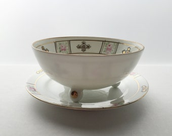 Hand Painted Nippon Antique Mayonnaise Bowl and Plate - Little Pink Roses & Gold Gilt Floral Design - Antique China - Nippon Porcelain