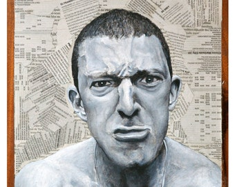 """Vincent Cassel is Vinz in """"La Haine"""". Mathieu Kassovitz, 1995. 9.8""""x9.8""""x2.3"""". Acrylic and collage on board."""