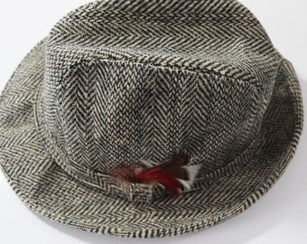 ARTEL Gray Herringbone Tweed Wool Trilby Hat, circa 1960's - size S