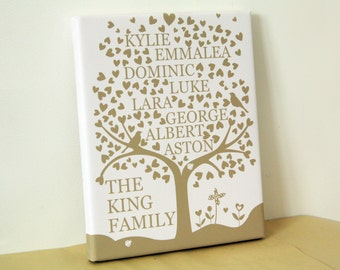 Family heart tree personalised family keepsake for mothers day fathers day gift grandparents handmade christmas present mum dad nan home