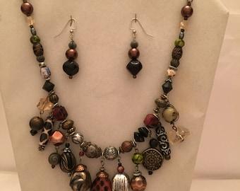 Animal Charmer Beaded Set/Animal Jewelry Set/Charm Necklace and Earrings/Animal/Charm