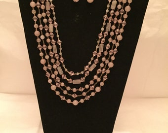 Pastel Pink Sparkle Jewery Set/Multi Strand Necklace and Earrings/Multi Strand/Beaded Jewelry