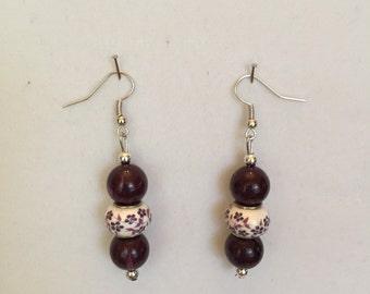 Purple Floral  Drop Earrings