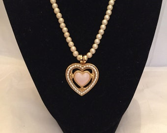 Victorian Heart Pendant Necklace/Pearl Necklace/Pendant/Beaded Necklace