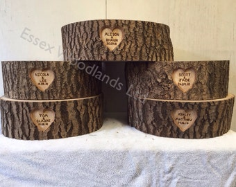 Personalised wood wedding cake stand 14 inch diameter X 5 inch thick