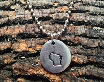Wisconsin Stamped Charm Necklace
