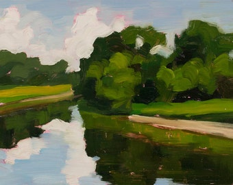 River Reflections - Landscape Painting - Oil on Panel