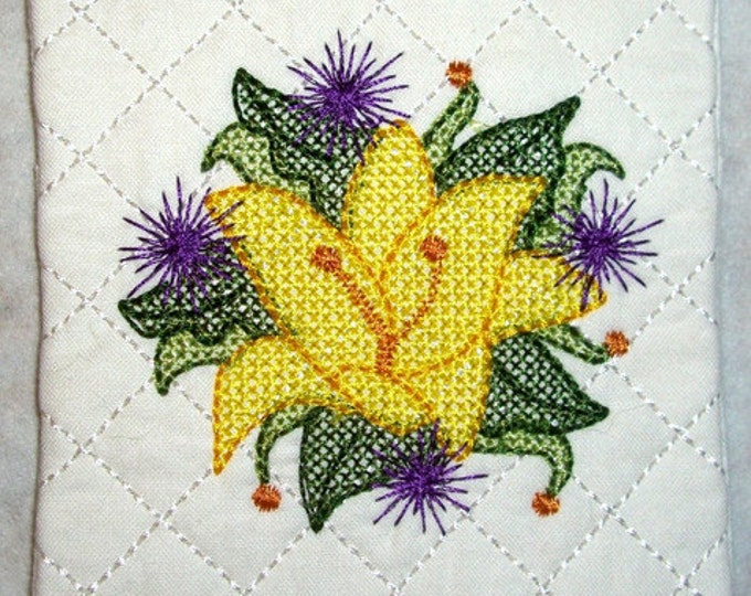 "ITH Floral Coasters  ( 12 ""In The Hoop"" Machine Embroidery Designs / Project from ATW )"