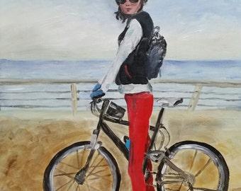 Bike rider inspired by Dalia Elad - print on canvas