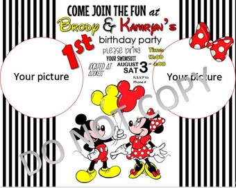 Mickey and Minnie Mouse 1st Birthday Invitation