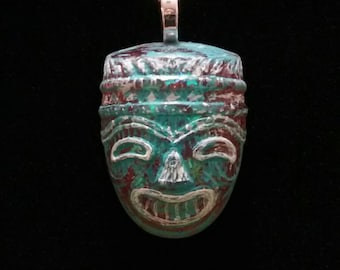 Salmon Flake Tiki Mask with Aqua & White Patina Charm