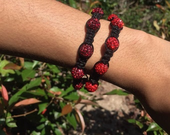 Red and Deep Red shamballa style bracelets.