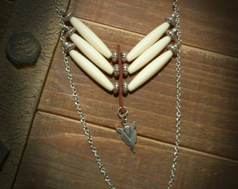 Boho-necklace-southwestern-trending jewelry-breastplate-arrowhead-native american-tribal-bone-pipe bead-statement-gift