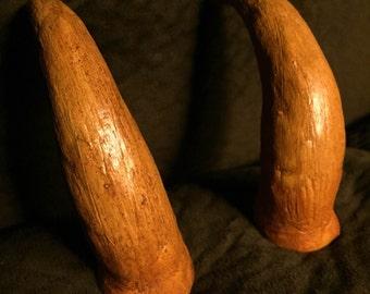 Short Curved Bone Horns // Satyr Horns // Natural // Bone Texture // Realistic //