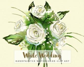 White wedding invitation clipart, white roses, baby's breath, white daisies.