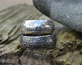 1946 Half Crown Coin Ring an unusual and unique 70th Birthday Gift