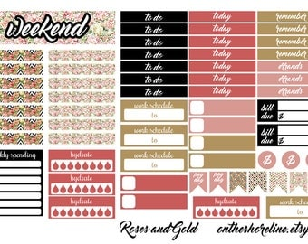 Roses and Gold Printable Planner Sticker Kit EC