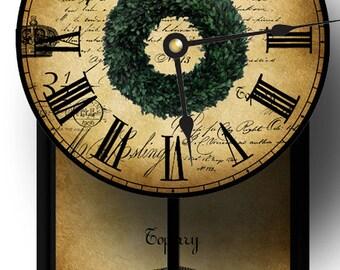 Unique Boxwood Wreath Pendulum Clock