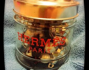 Hermes inspired glass holder (cotton balls/q-tips)