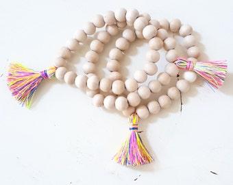 Multi colored silk tassel bracelet