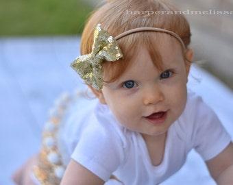 Gold Glitter Headbands, Gold Sequin Bow, Gold Glitter Bow, Glitter Bow for Baby Girl