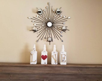 Jack daniels Love set. Jack daniels decor Home decor Table decor Mantel decor Valentines day decor Bridal shower decor. Jack daniels bottles