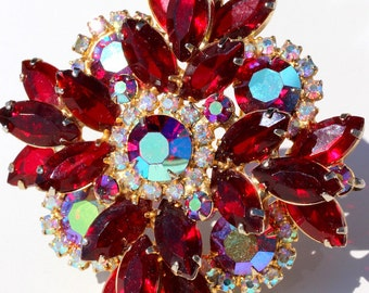 D&E Juliana Ruby Red Rhinestone Brooch Stunning Big Vintage Delizza and Elster Aurora Borealis Pin