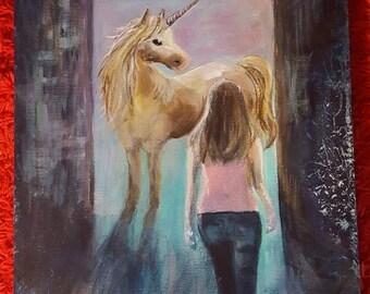Unicorn, original acrylic painting
