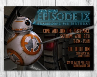 BB8 Invitations, Star Wars The Force Awakens Invitations, Star Wars Invitations, Star Wars Birthday Invitations, FREE Thank you cards