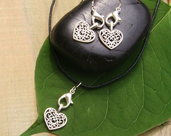 Necklace And Earrings With Hearts