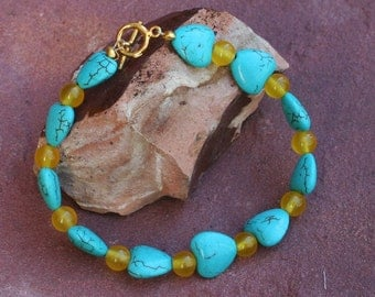 Howlite Harts With Yellow Agate Bracelet